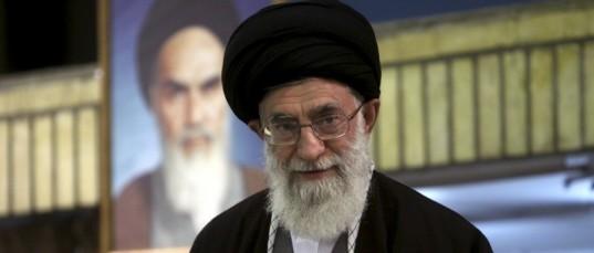 Iran  Ayatollah Ali Khamenei w pic old behind