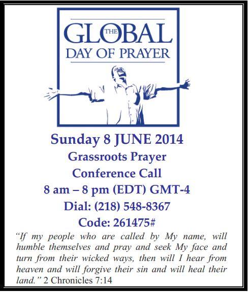 12 hour Prayer Call on Sunday, June 6, 2014