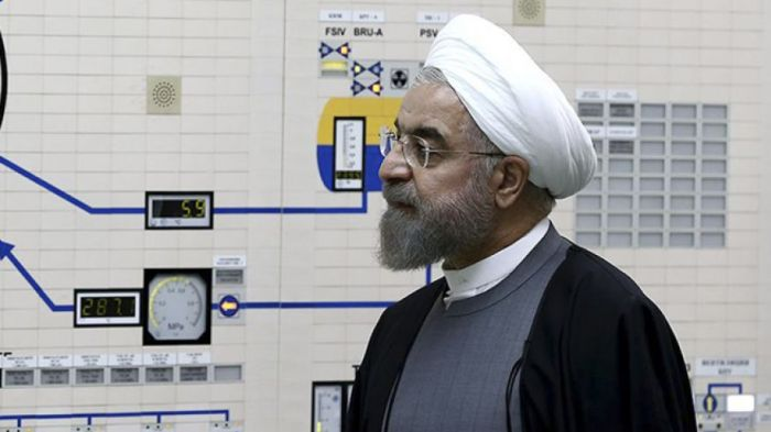 Iranian President Hassan Rouhani visits the Bushehr nuclear power plant just outside the port city of Bushehr, southern Iran, Jan. 13, 2015. (Iranian Presidency Office/AP)