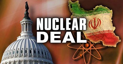 Nuke Deal w US capitol and iran flag map and nuke symbol